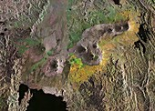Virunga Mountains, East Africa, satellite image