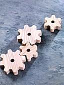 Interlocking wooden cogwheels