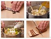 Veganen Buchweizen-Gemüseauflauf mit Räuchertofu zubereiten