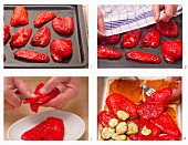 Red peppers being peeled for a vegetable bake