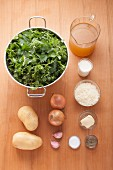 Ingredients for nettle soup with parmesan crackers
