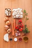 Ingredients for vegan mushroom consommé