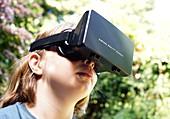Child wearing a virtual reality headset