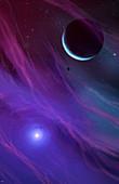 Alien planetary and stellar system, illustration