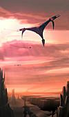 Spacecraft exploring alien world, illustration