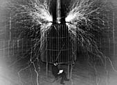 Tesla coil experiment, 1899