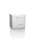 Cube with the letter L embossed.