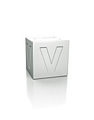 Cube with the letter V embossed.