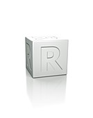 Cube with the letter R embossed.
