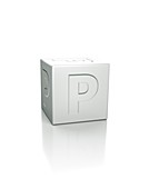 Cube with the letter P embossed.