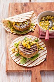Grilled bean burgers with tortillas for vegetarians