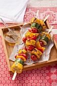 Vegan vegetable skewers from the BBQ