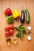Ingredients for grilled Mediterranean vegetable salad
