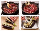 Grilled aubergine fans with onion sauce being made