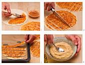 Hummus with sesame tortilla sticks being made