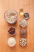 Ingredients for making crunchy muesli