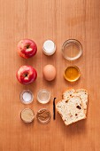Ingredients for making French toast with apples