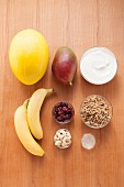 Ingredients for making muesli with grain and fruit