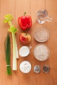Ingredients for making spicy muesli with vegetables and cottage cheese