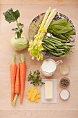 Ingredients for steamed vegetables with lemon cream