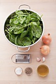 Ingredients for the preparation of spinach