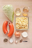 Ingredients for cabbage and spaetzle with Bologna sausage