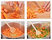 Möhren-Erbsen-Gemüse zubereiten