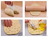 Unleavened bread being made