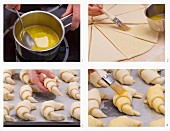 Butter croissants being made