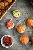 Spicy scones with dried tomatoes and feta (top view)