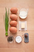 Ingredients for scrambled eggs