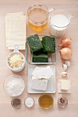 Ingredients for spinach and feta lasagne