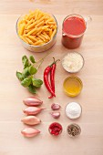 Ingredients for penne all'arrabbiata