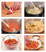 Penne all'arrabbiata being made