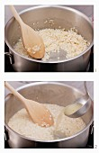 Risotto being made the classic way