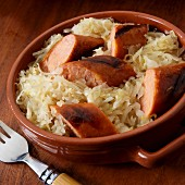 Polish kielbasa with sauerkraut