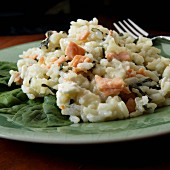 Risotto with smoked salmon and spinach