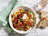 Tagliatelle with quick and easy pork and tomato goulash