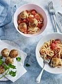 Tomato spaghettini with tuna balls