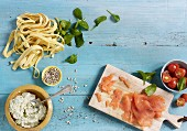 Ingredients for tagliatelle with smoked salmon