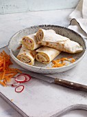 Chicken wraps with mango chutney and radishes