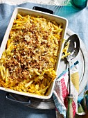 Macaroni and pumpkin gratin with Emmental cheese