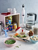 Ingredients and kitchen utensils for making quick and easy dishes