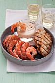 King prawns with cocktail sauce