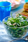 Rocket salad with parmesan in a glass bowl
