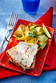 Crab meat terrine with mango salad