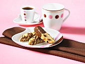 Chocolate-dipped biscotti with chocolate chips