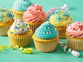 Easter cupcakes decorated with colourful frosting