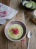 Creamy coconut and courgette soup with beetroot shoots
