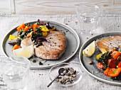 Fried tuna with black cabbage peperonata (Sirtfood)